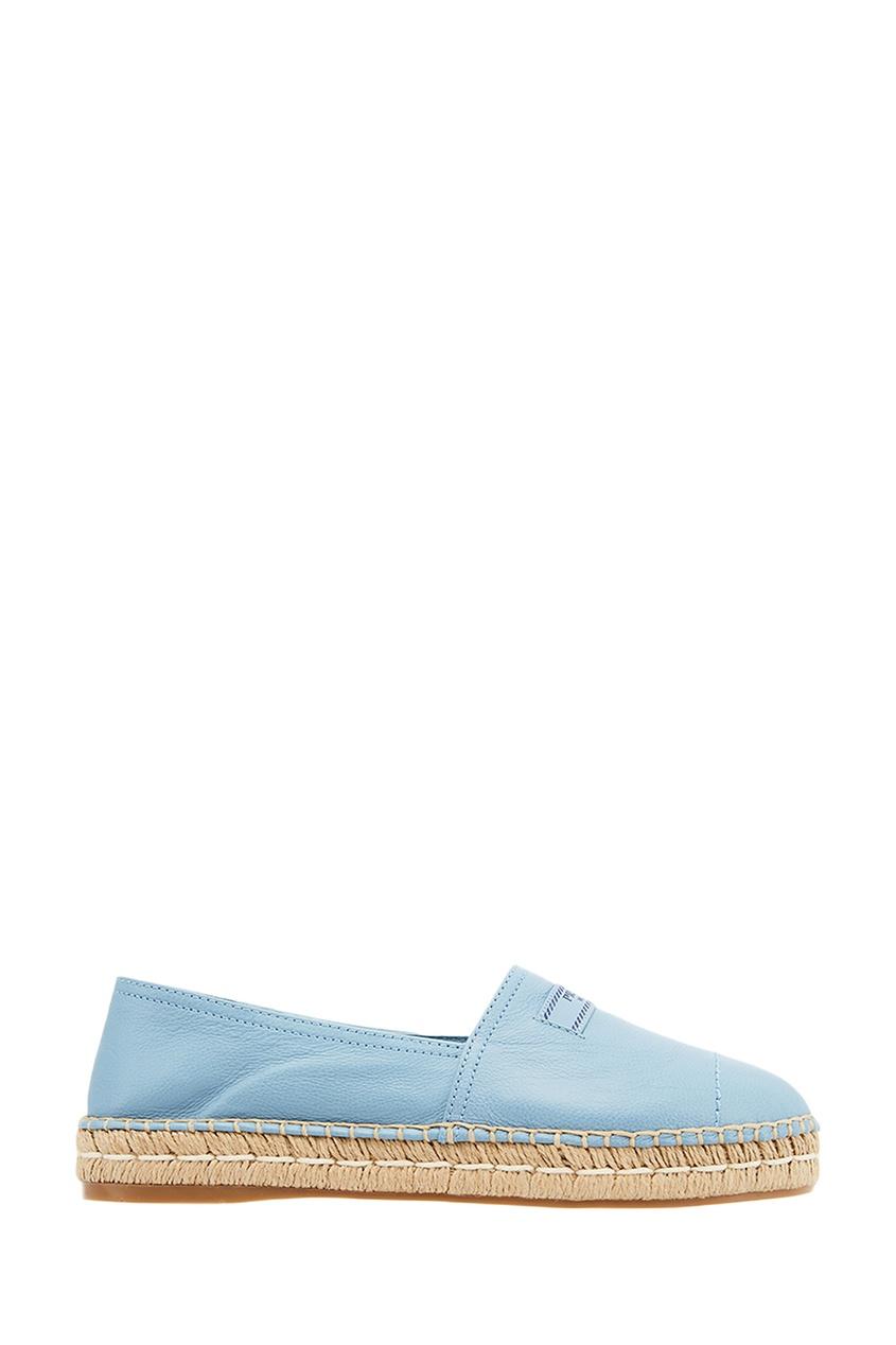Prada Голубые кожаные эспадрильи