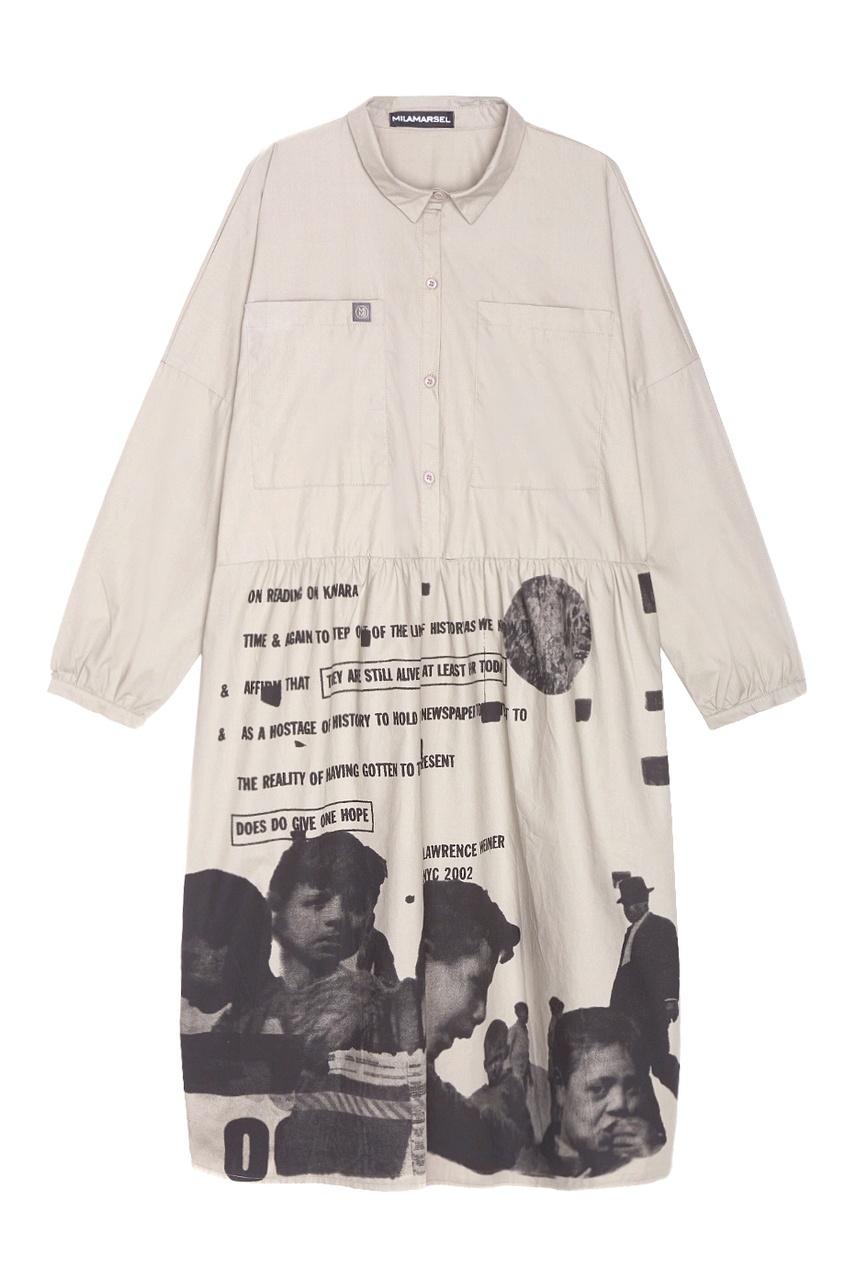 MILA MARSEL Серое платье-рубашка с принтом свободное платье с потайной застежкой