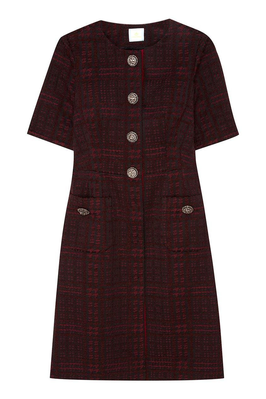 Купить со скидкой Бордовое шерстяное платье с пуговицами