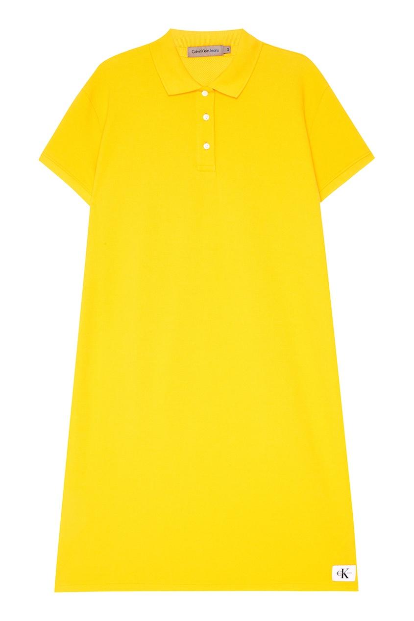 Желтое платье-поло из хлопка