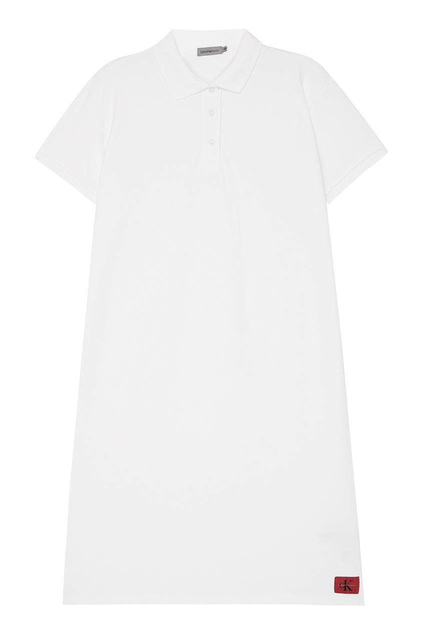 Белое платье-поло из хлопка