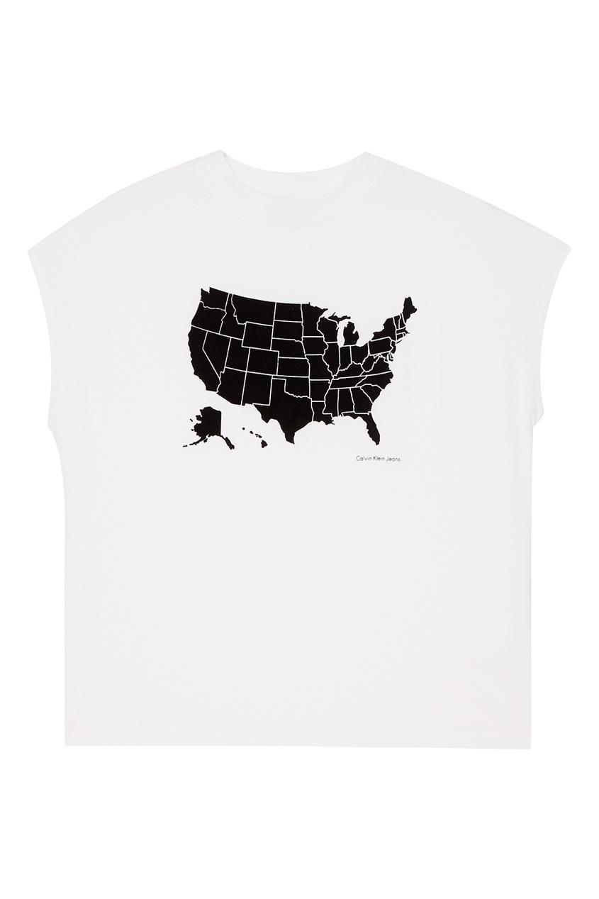 Calvin Klein Футболка с черным контуром футболка calvin klein