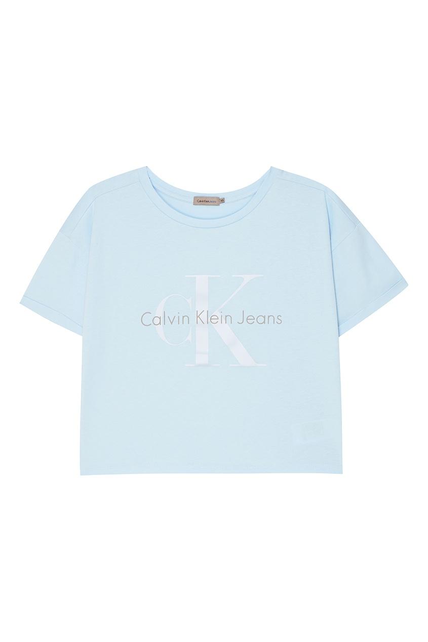 Calvin Klein Голубая футболка с логотипом футболка calvin klein