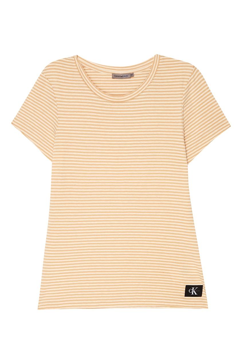 Calvin Klein Хлопковая футболка в бежевую полоску футболка calvin klein