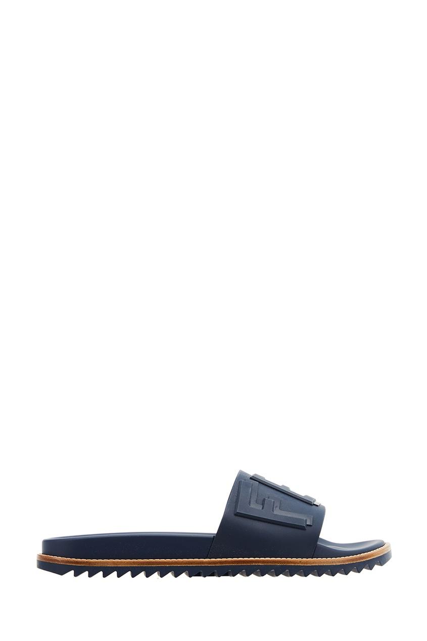 Синие сандалии с объемным логотипом Fendi