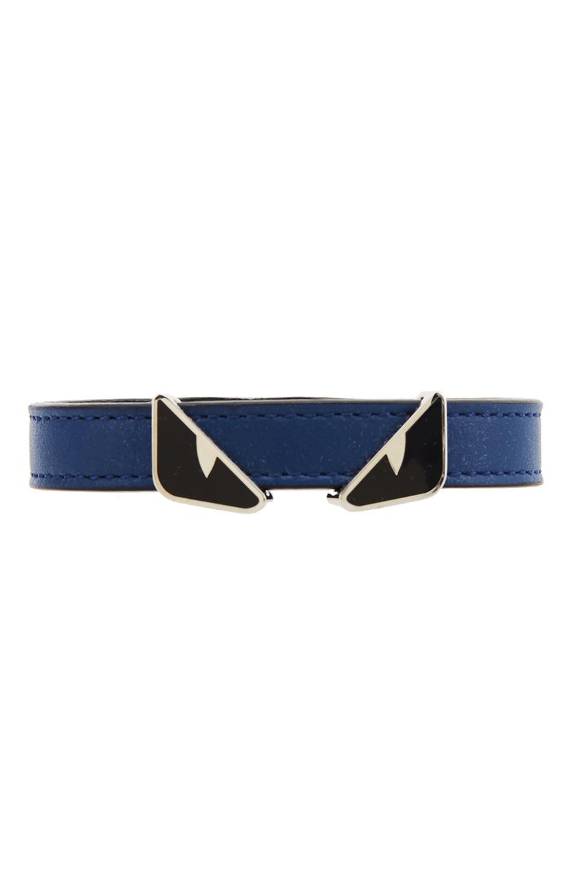 Купить Синий кожаный браслет от Fendi цвет multicolor