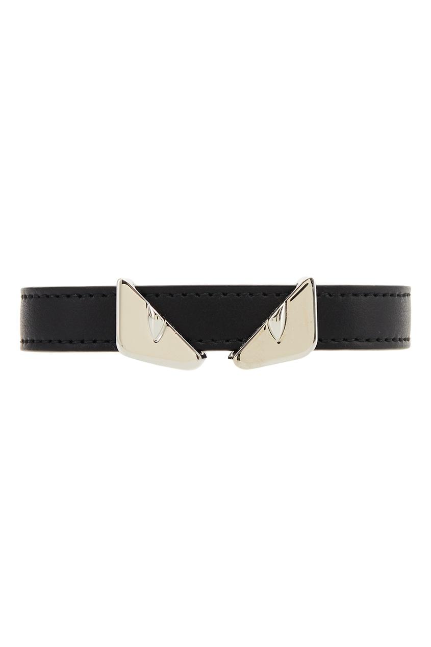 Купить Черный кожаный браслет от Fendi цвет multicolor