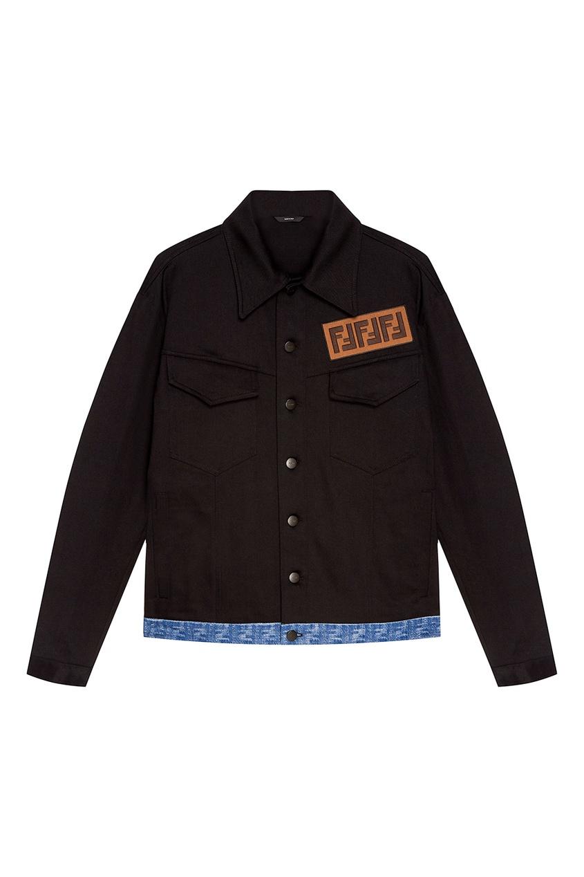 Купить Черная куртка с монограммой от Fendi черного цвета
