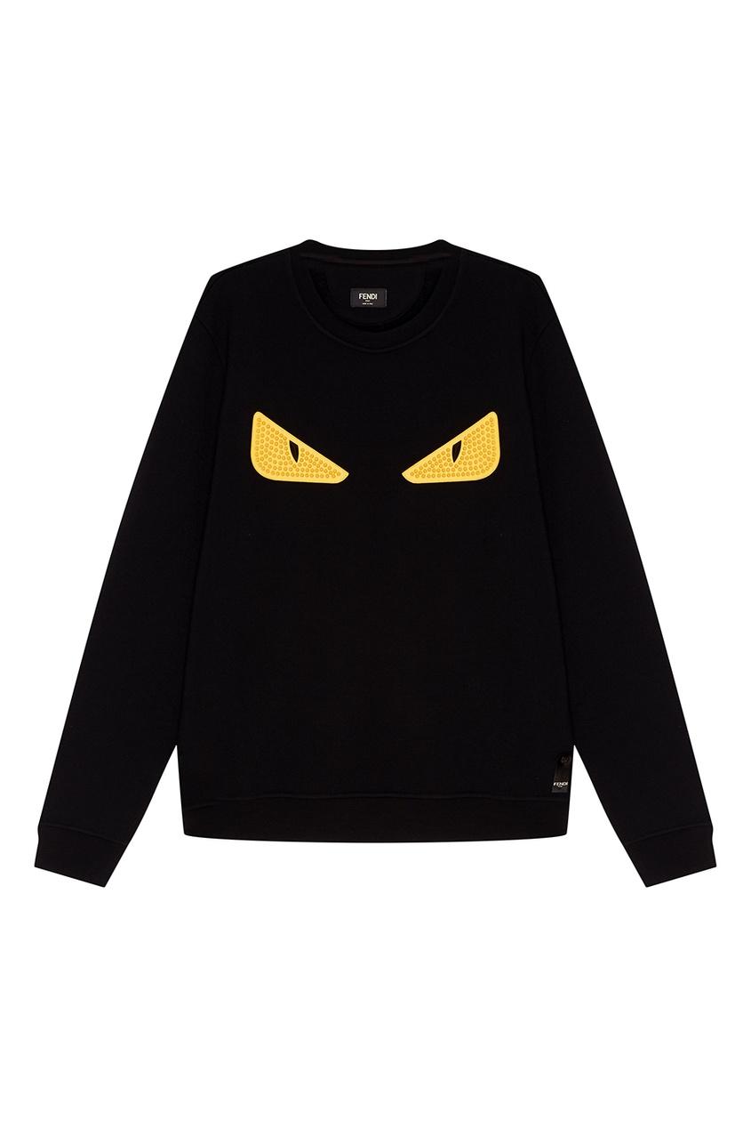 Купить Черный свитшот с аппликацией от Fendi черного цвета