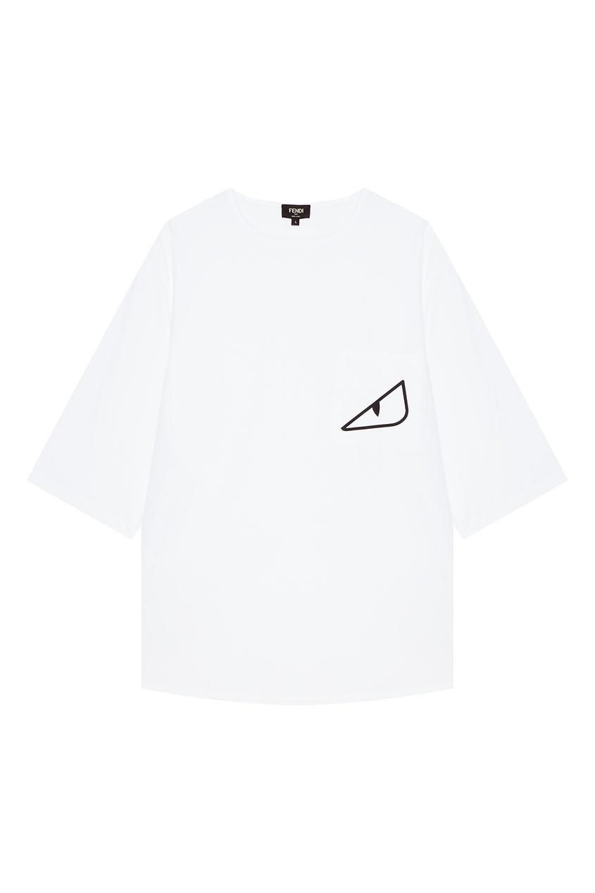Fendi Белая футболка с принтом футболка белая catimini ут 00011611