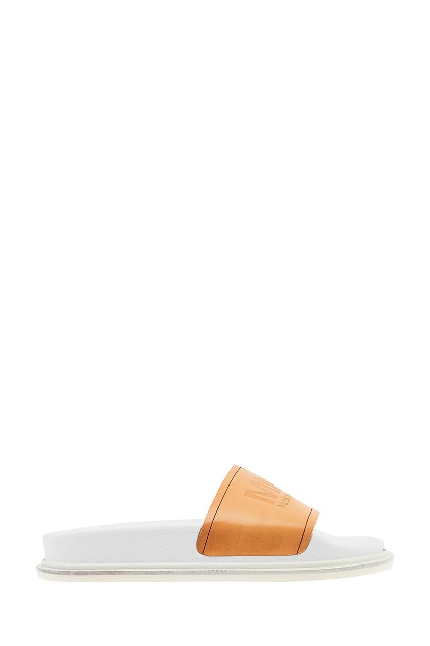 Комбинированные сандалии с логотипом от MM6 Maison Margiela