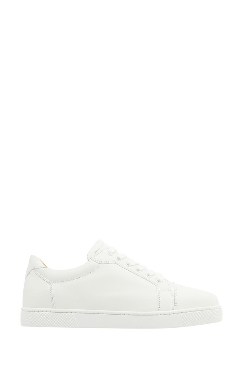 Christian Louboutin Белые кожаные кеды Vieira Flat christian louboutin кожаные сапоги napaleona 70