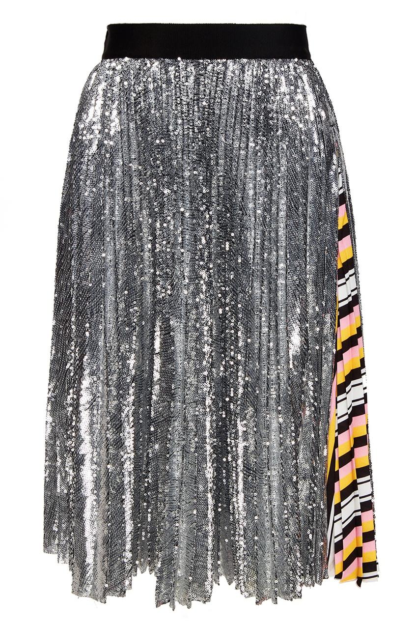 Плиссированная юбка в пайетках