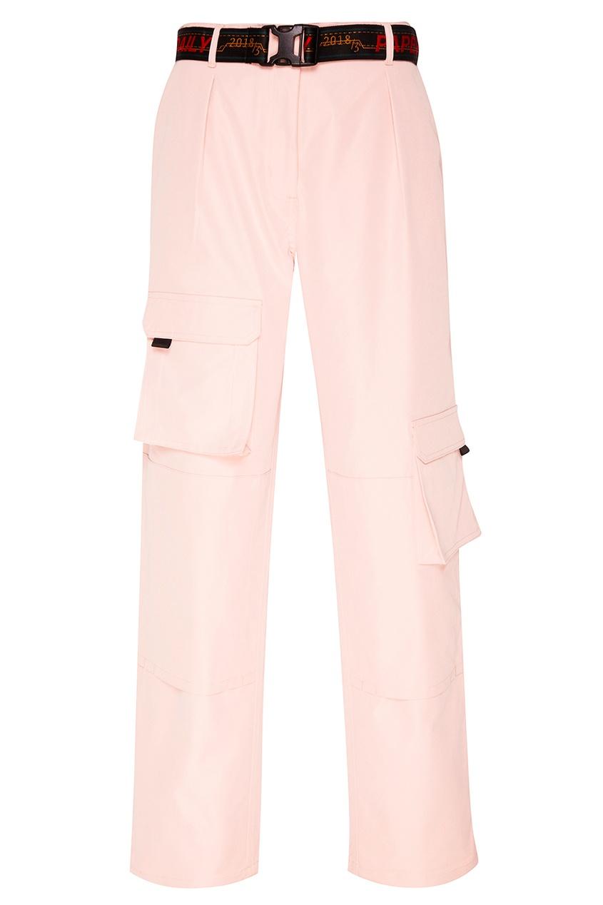 Розовые брюки с накладными карманами