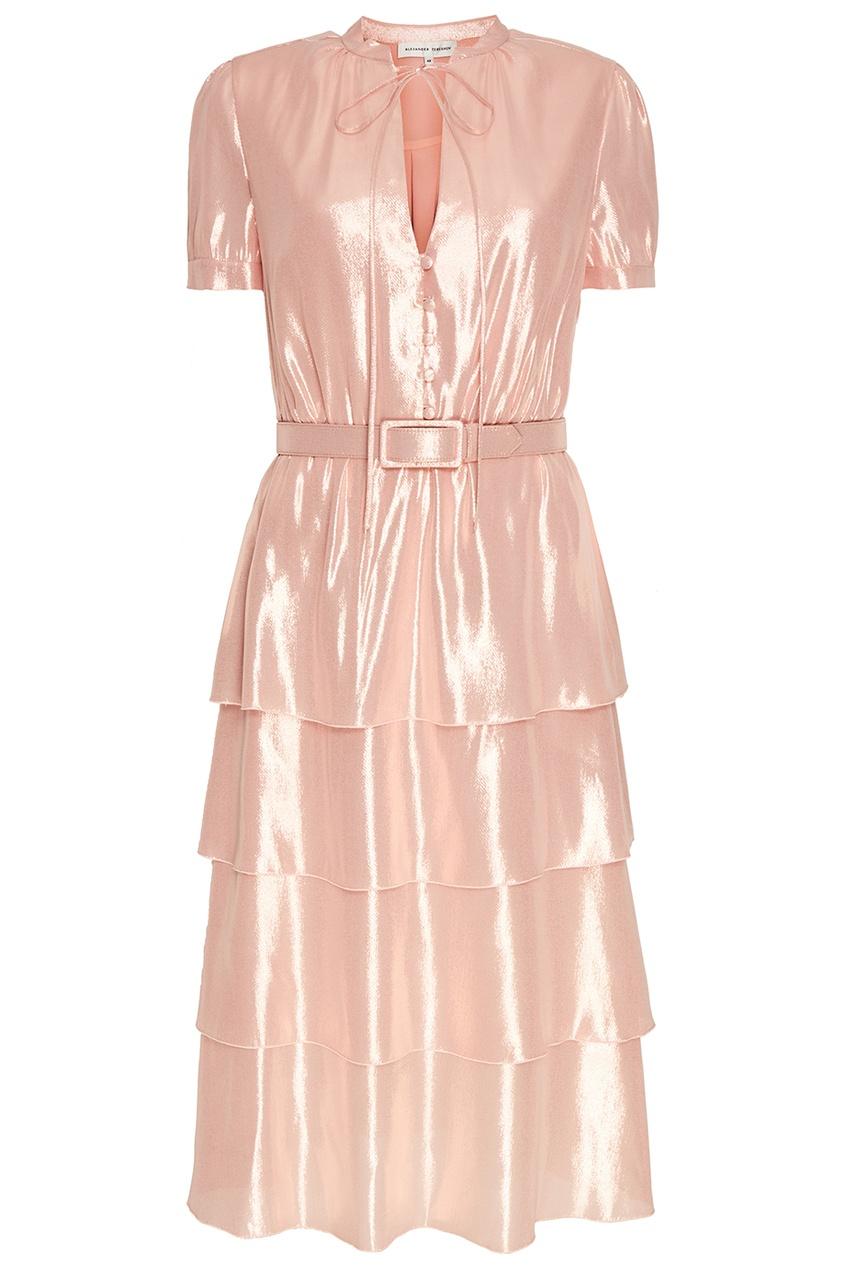 Alexander Terekhov Розовое платье из блестящего шелка terekhov girl платье с воланами по бокам