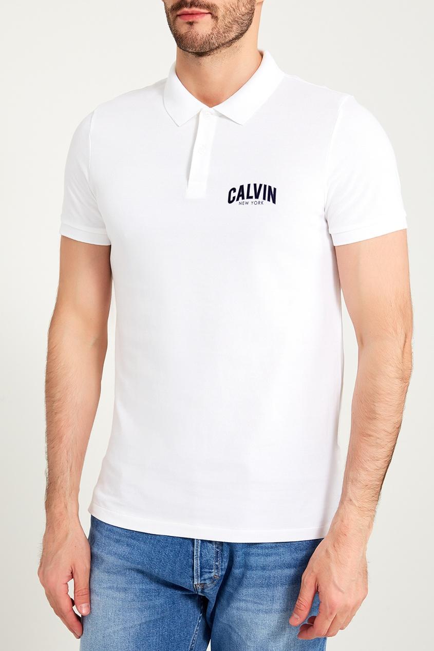 мужское поло calvin klein, белое