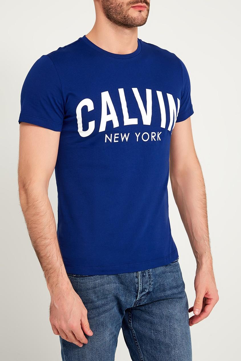 мужская футболка calvin klein, синяя