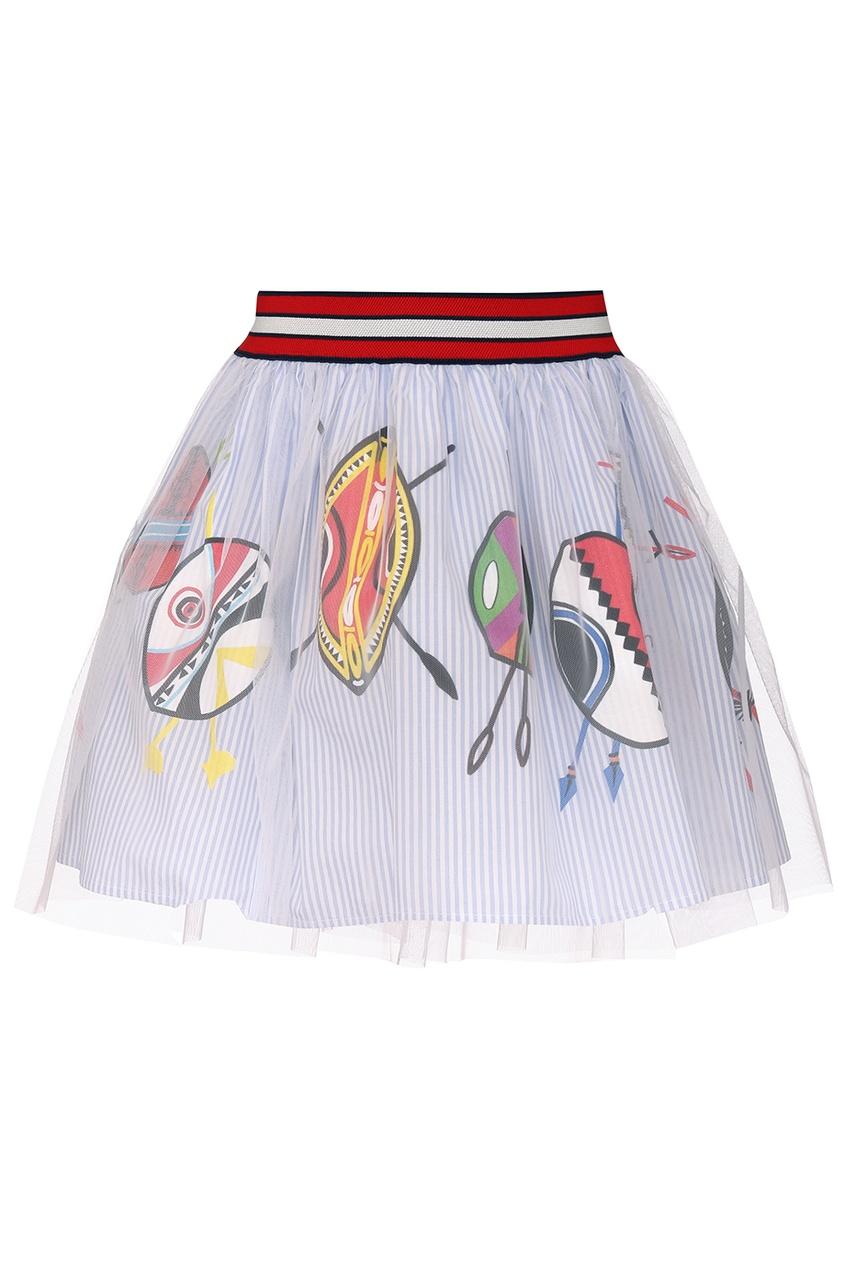 Хлопковая юбка с сеткой
