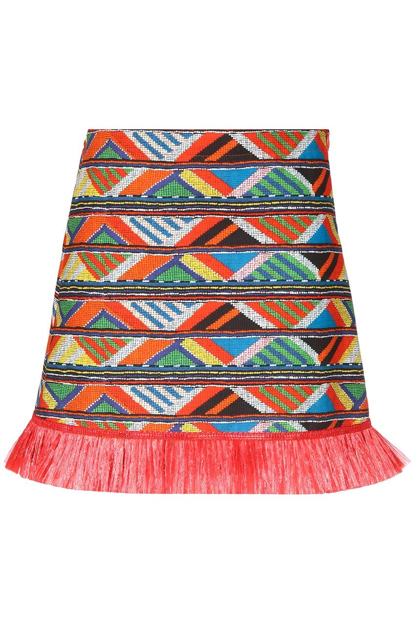 Короткая юбка-трапеция с бахромой