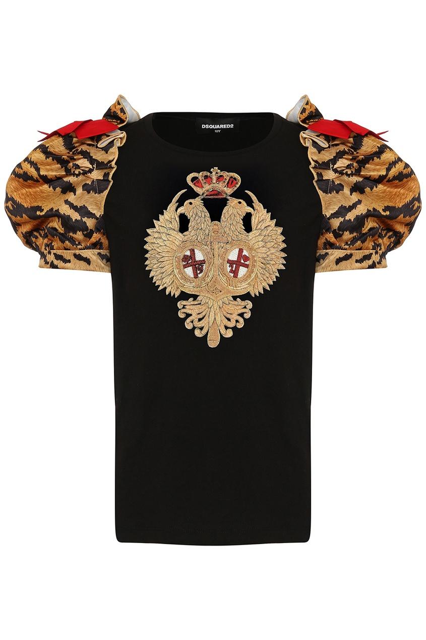 Dsquared 2 Черная футболка с рукавами-фонариками dsquared 2 футболка с принтом