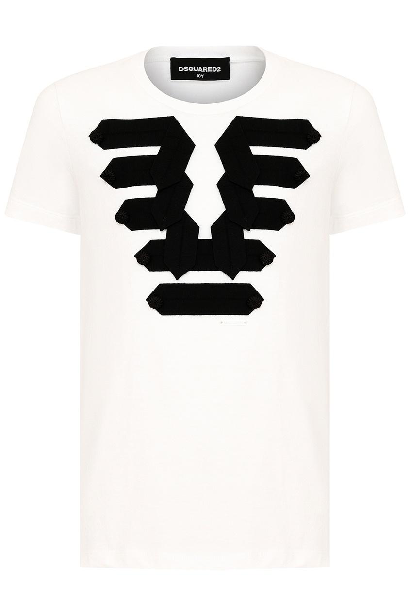Dsquared 2 Белая футболка с черными лентами dsquared 2 футболка с принтом
