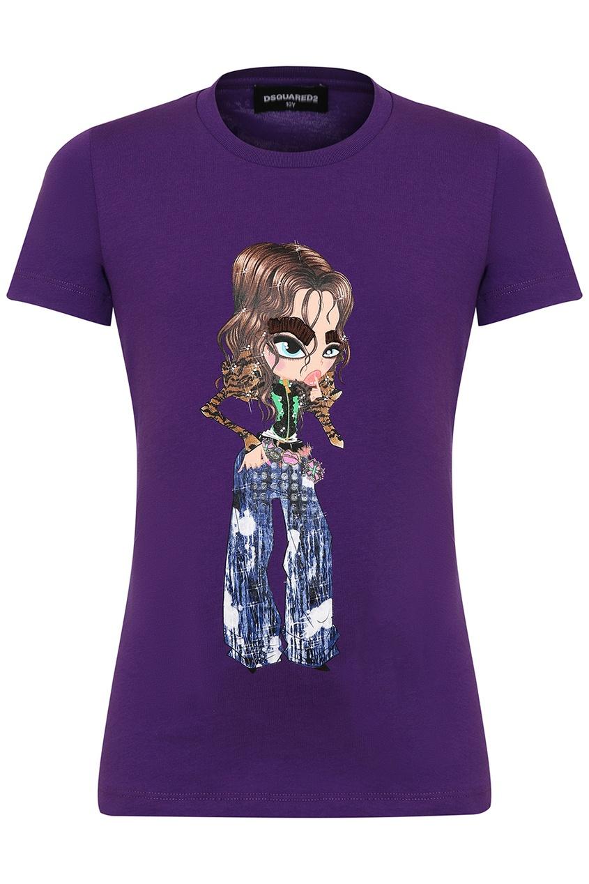 Dsquared 2 Фиолетовая футболка с принтом dsquared 2 футболка с принтом