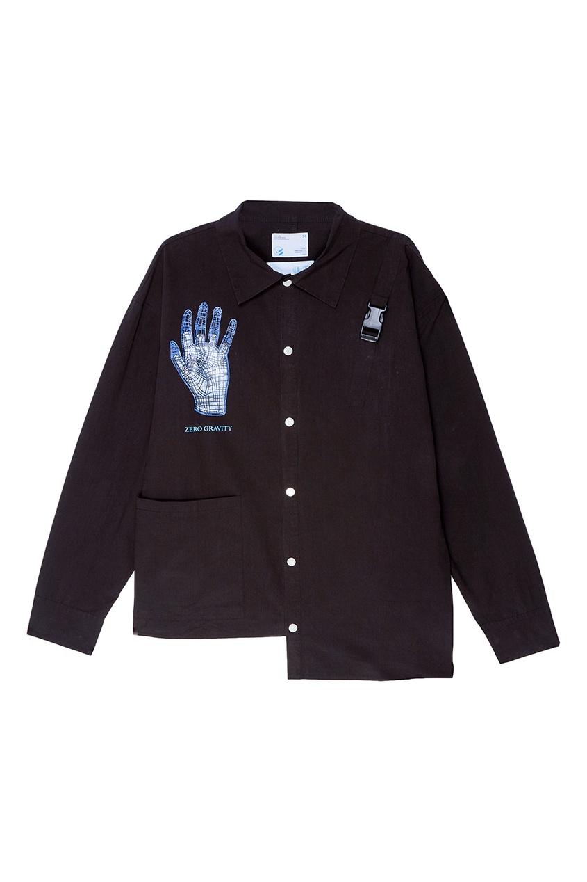 Черная рубашка с принтом