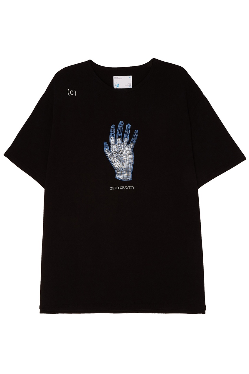 C2H4 Футболка из черного хлопка с принтом футболка c h i c