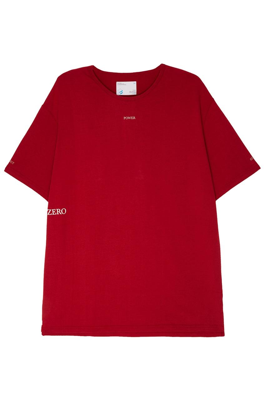 C2H4 Красная удлиненная футболка футболка c h i c