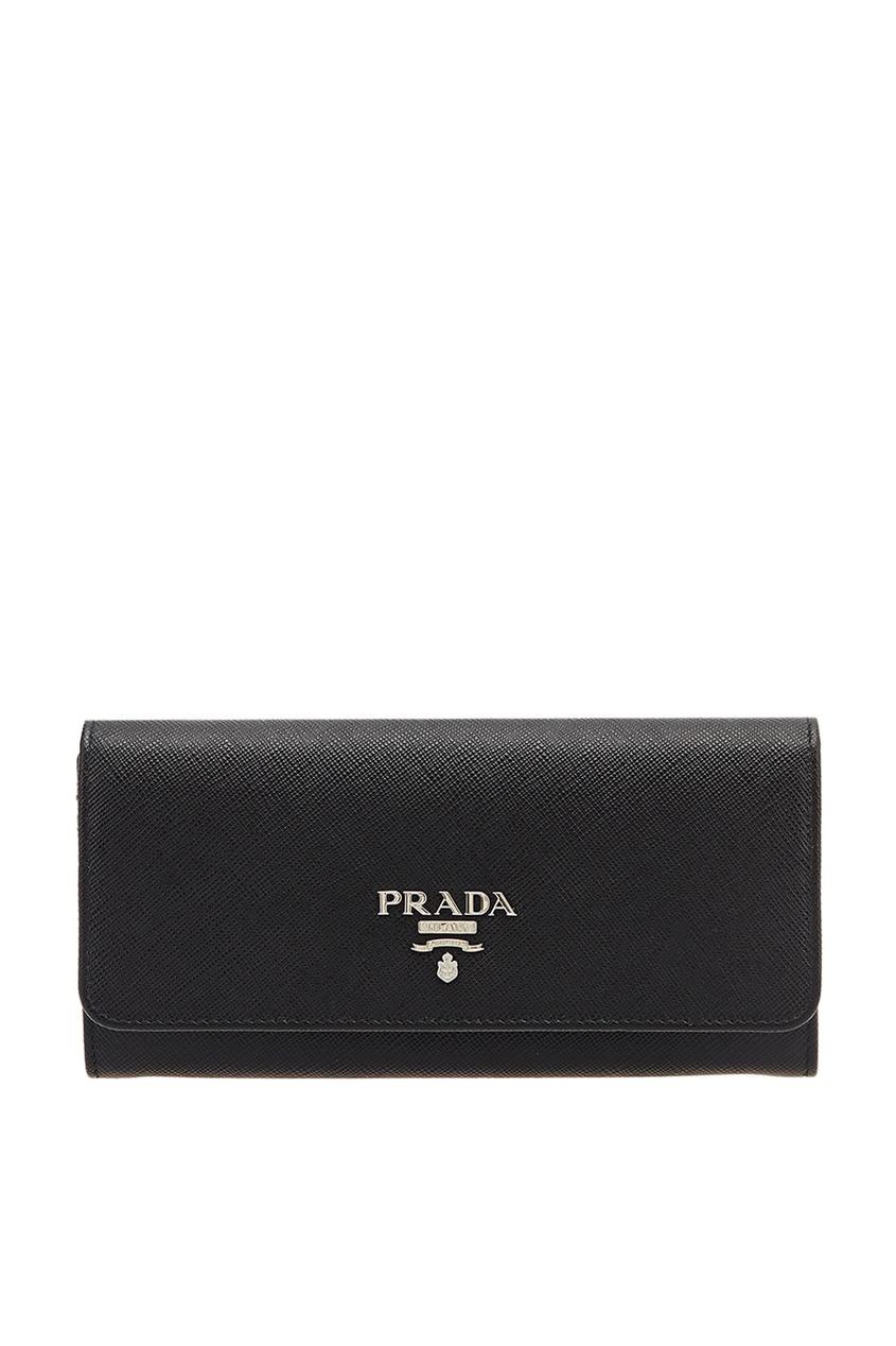 Prada Черный кошелек из сафьяновой кожи patrizia pepe кошелек из кожи с сафьяновым принтом