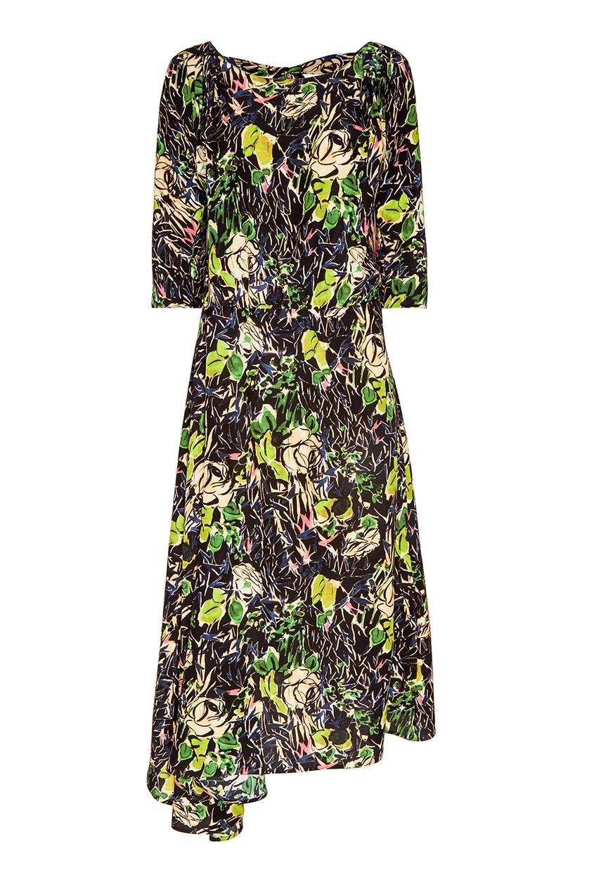 Prada Шелковое платье-миди с цветами кружевное платье миди 40 44
