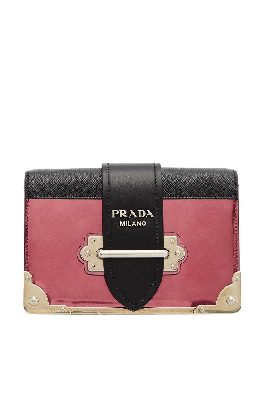 Prada Розовая кожаная сумка Cahier le kiosque 1 cahier