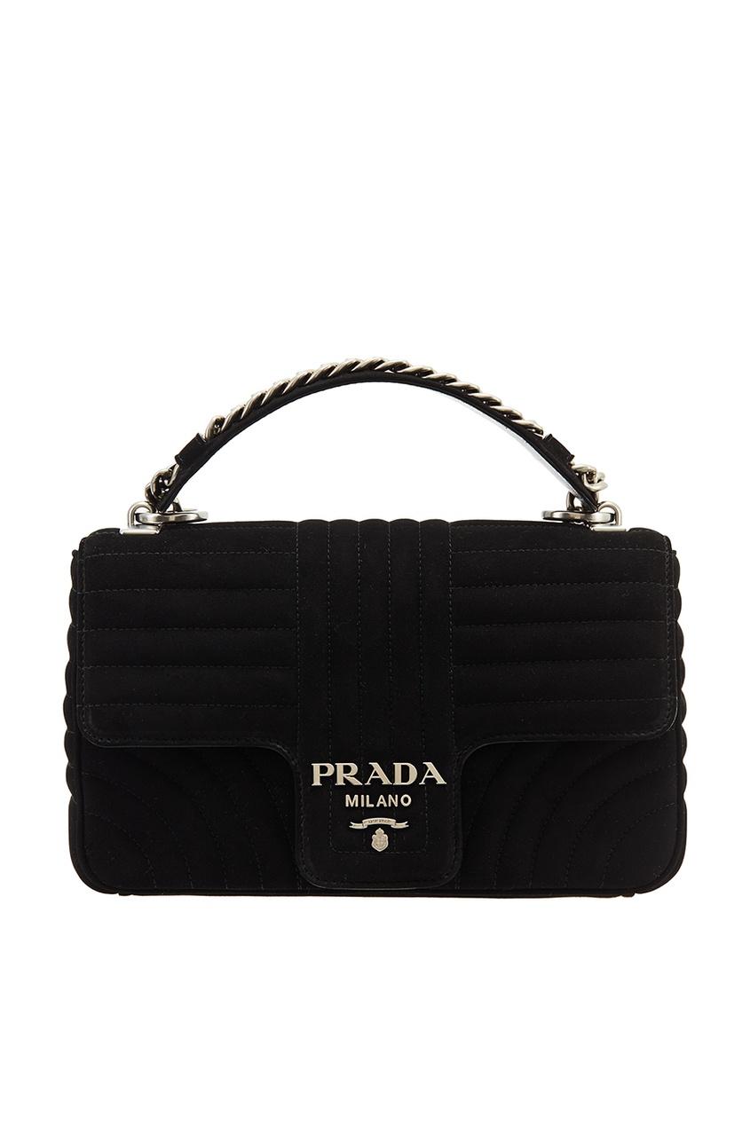 Prada Черная замшевая сумка Diagramme аксессуар защитное стекло для htc desire 620 onext 40918