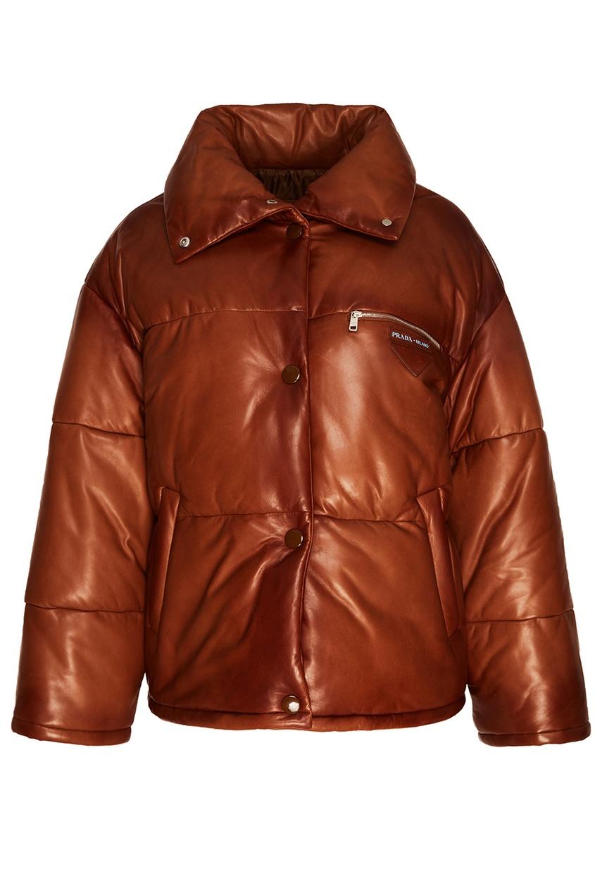 цена на Prada Коричневая куртка из кожи