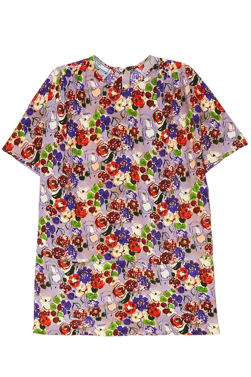 Prada Шелковая блузка с цветами