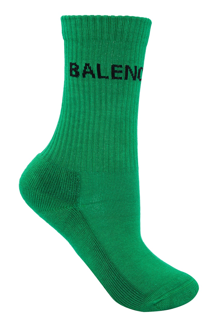 Зеленые носки из хлопка с логотипом