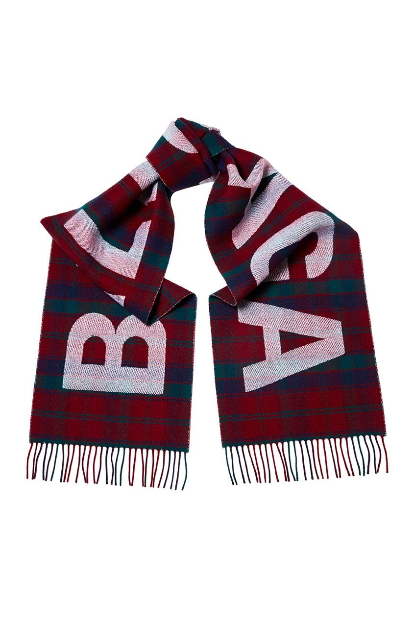 Шерстяной шарф в клетку с логотипом