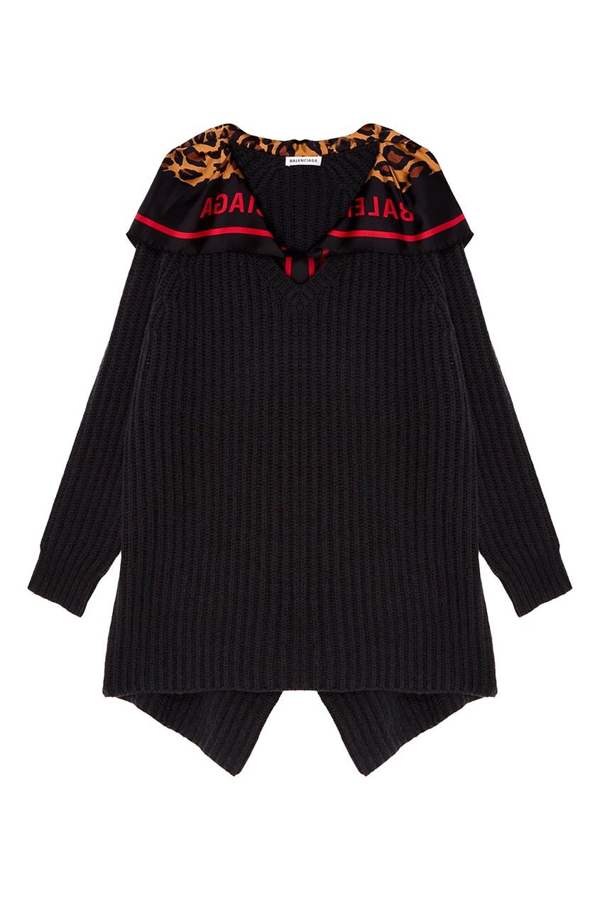 Balenciaga Черный пуловер с платком пуловер свободный с воротником с отворотом plunkett