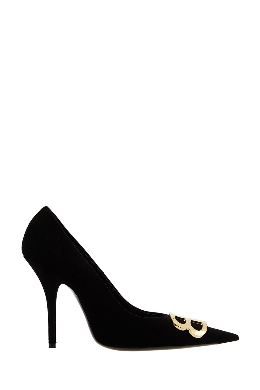 Черные замшевые туфли с монограммами Balenciaga