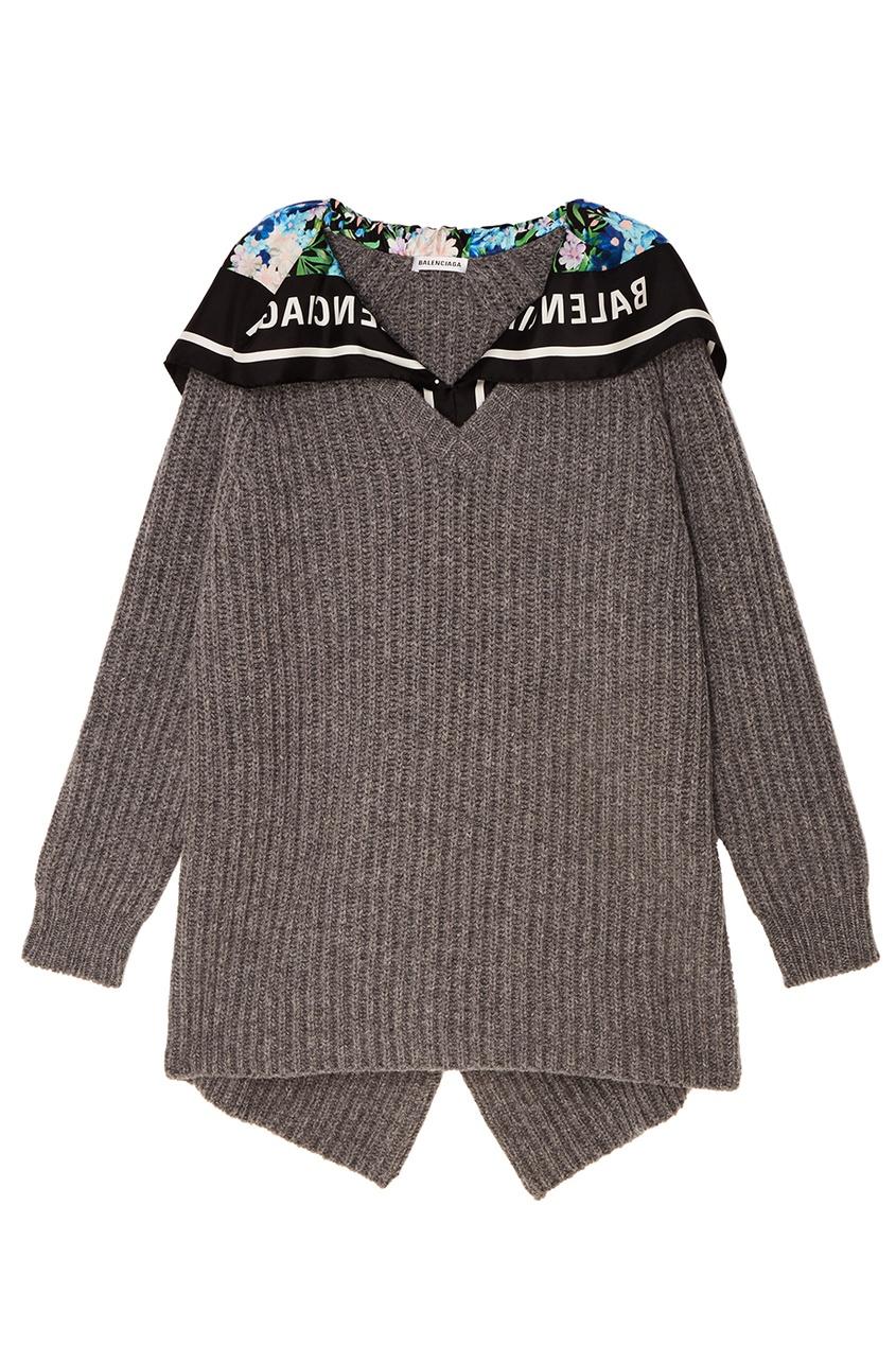 Balenciaga Серый шерстяной пуловер с платком balenciaga шерстяной пуловер