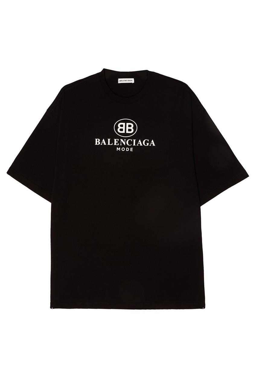 Balenciaga ФутболкаЧерная хлопковая футболка с логотипом