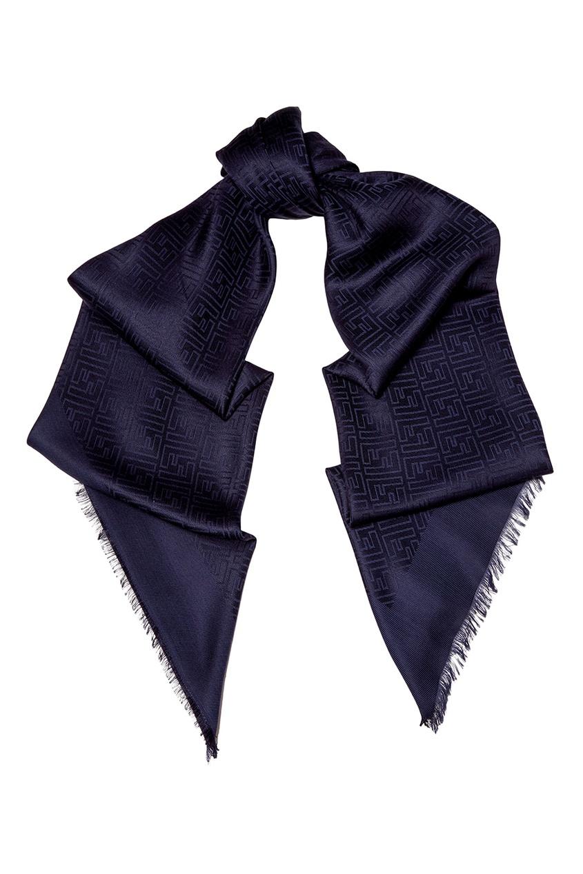 Синий платок из шелка и шерсти