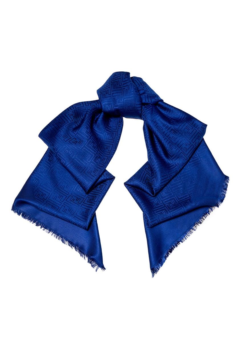 Синяя шаль из шерсти и шелка