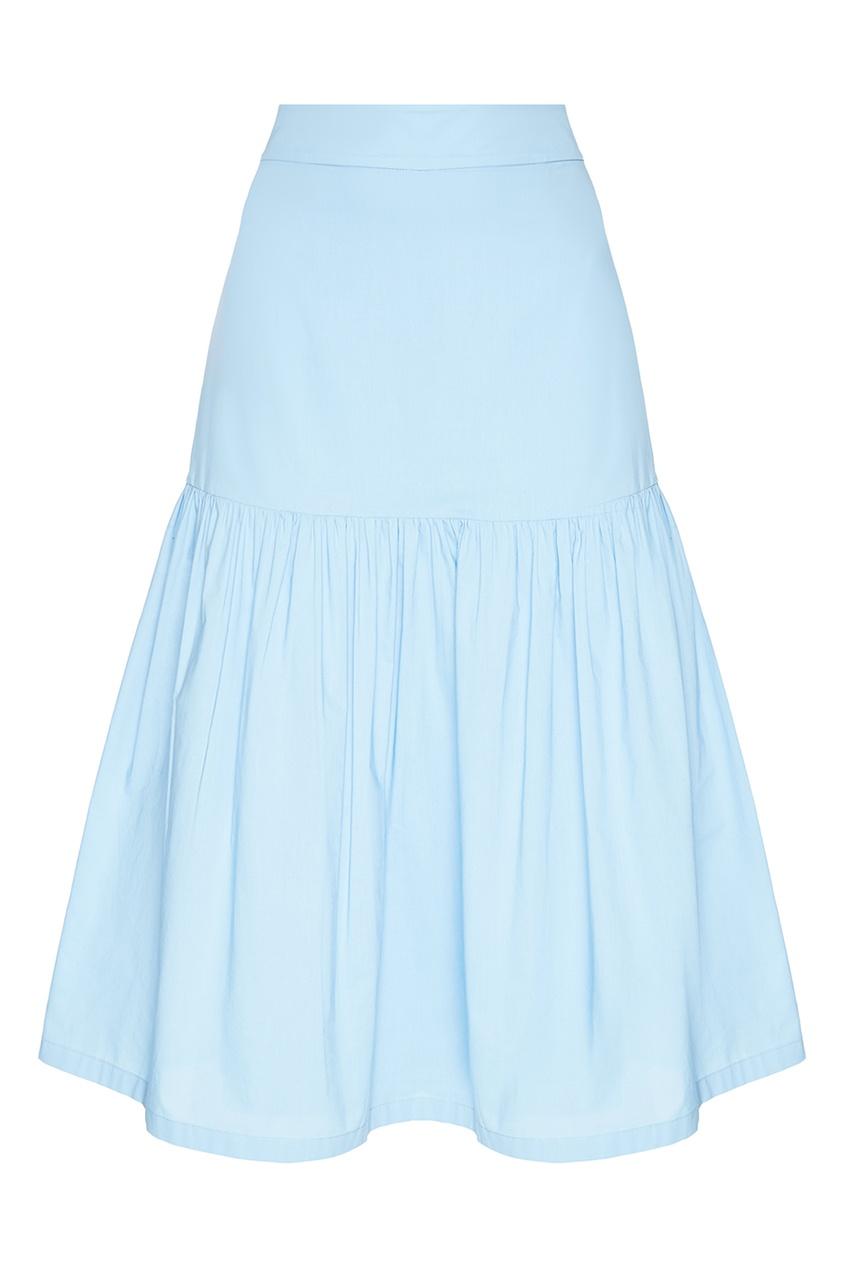 Хлопковая юбка с воланом