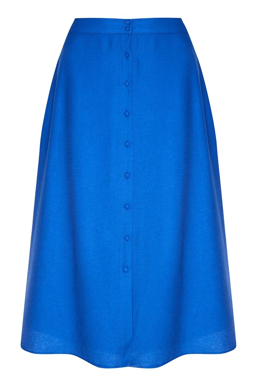 Синяя юбка из трикотажа