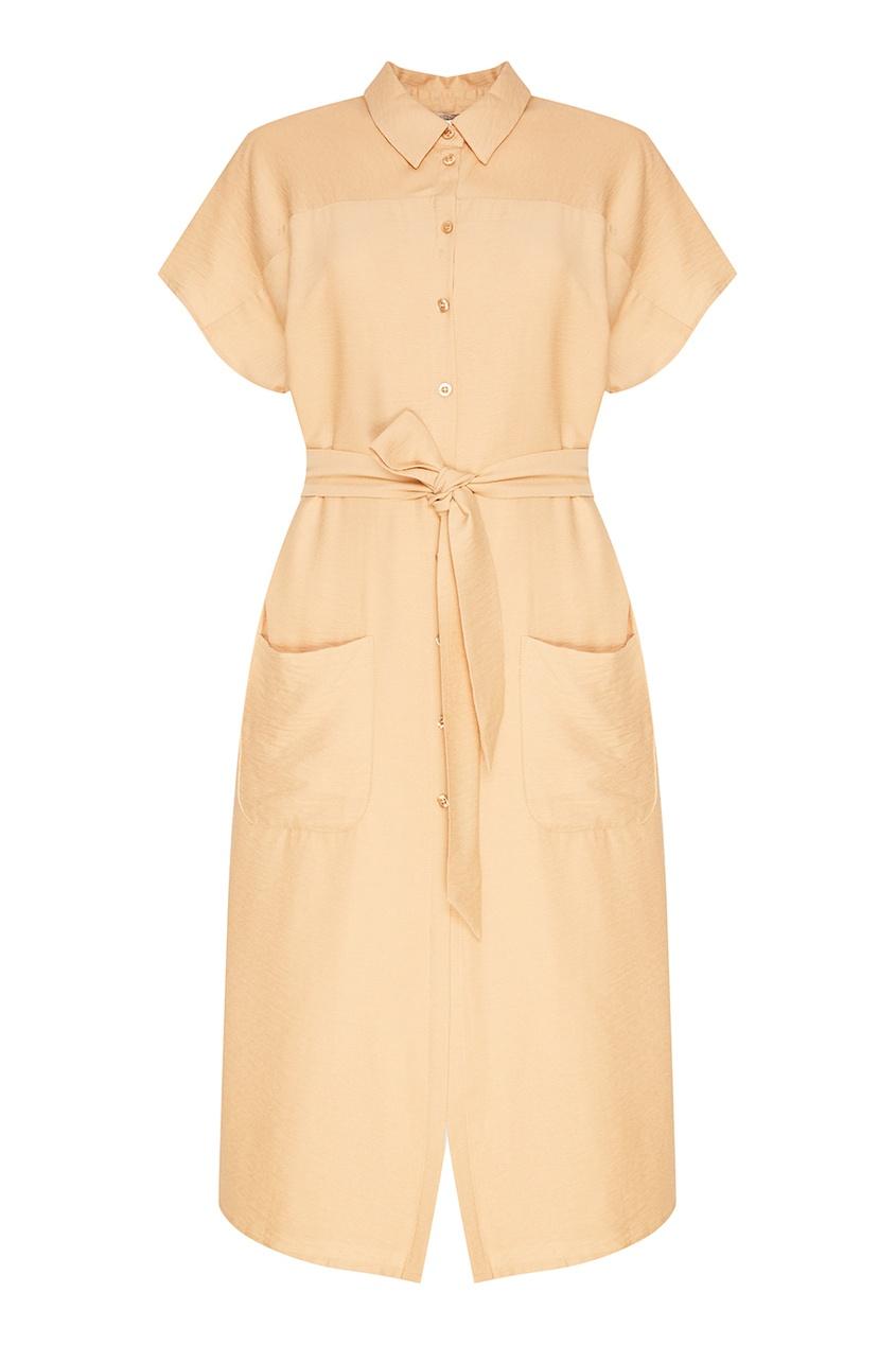 Бежевое платье-рубашка с карманами
