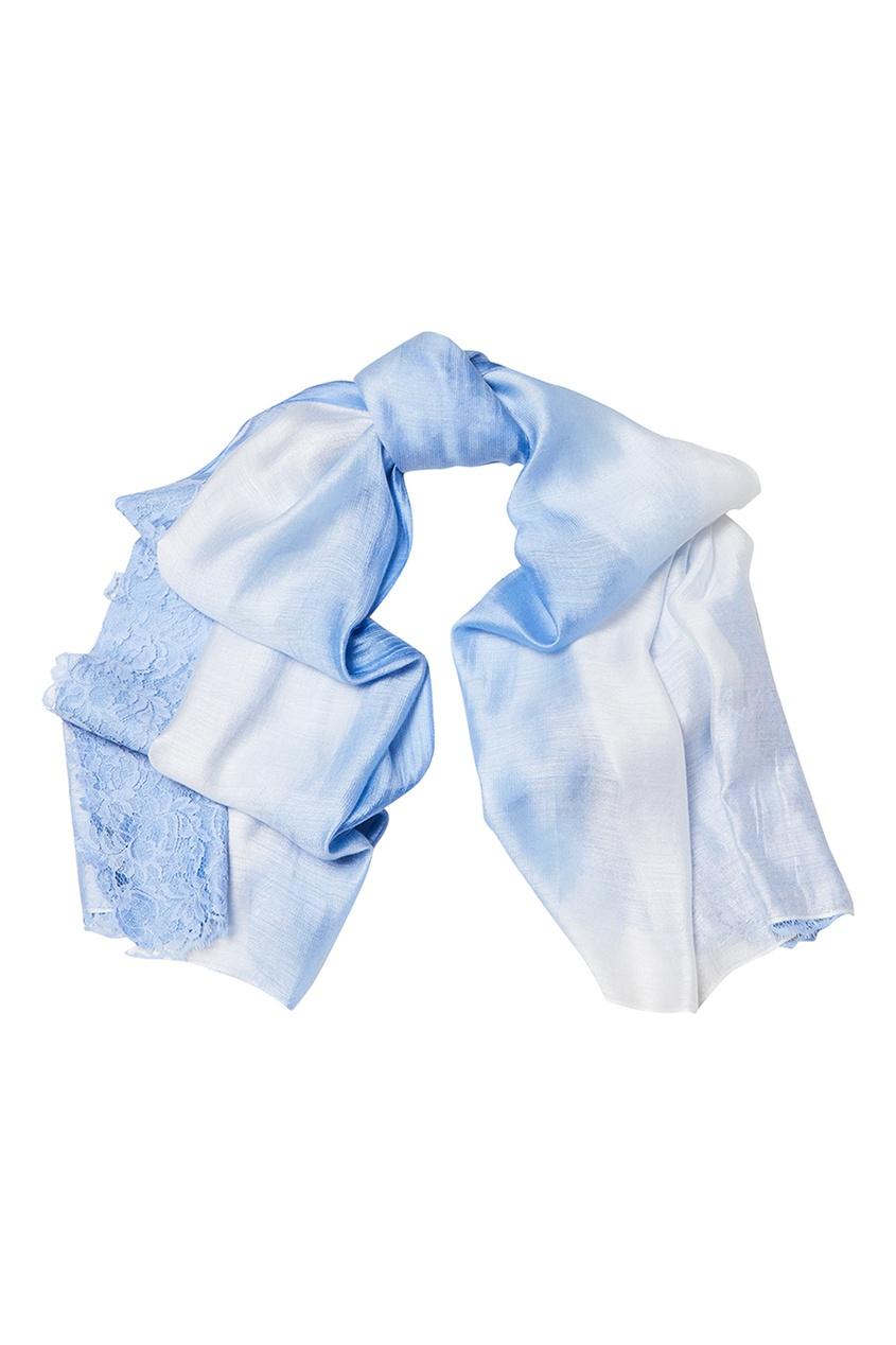 Голубой палантин из шелка с кружевом Levveronika