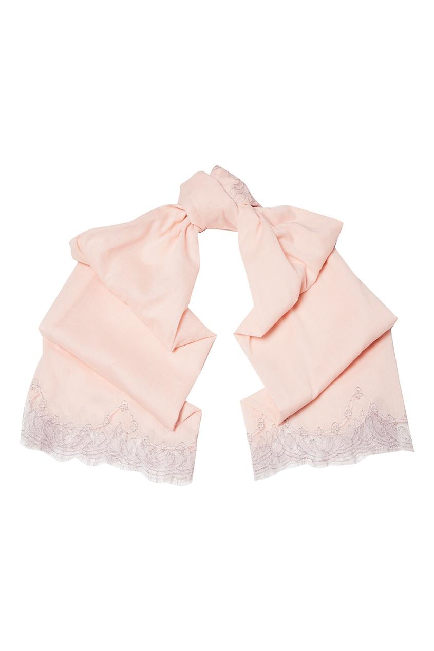 Розовый палантин из хлопка Levveronika