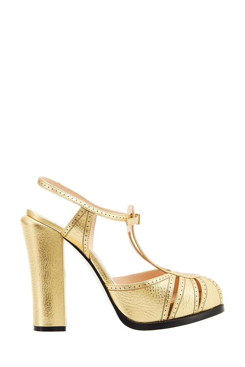 женские туфли fendi, золотые