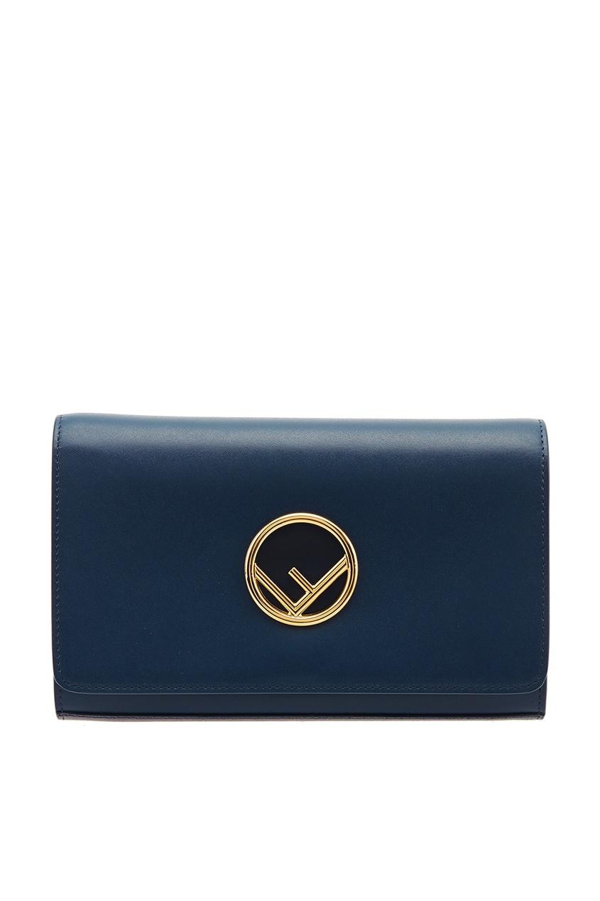 Fendi Синяя сумка с золотистым логотипом